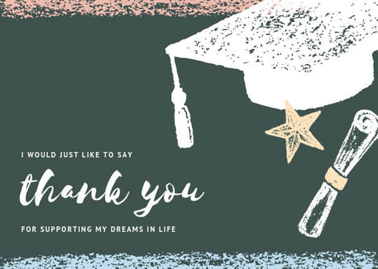 Blackboard with Chalk Illustrations Graduation Thank You Card