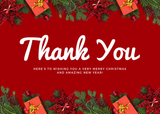 Red Christmas Decor Christmas Thank You Card - Templates by Canva