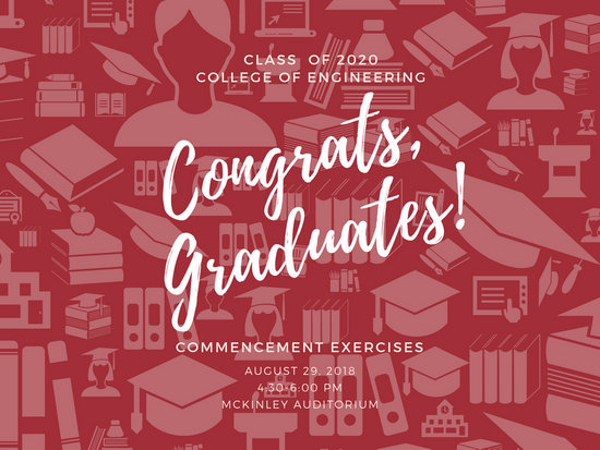 Red and White Graduation Script Pattern Poster - Templates by Canva