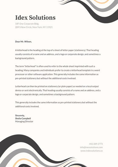 Grey Abstract Curves Professional Letterhead - Templates by Canva