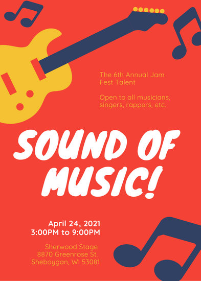 Red Musical Icons Talent Show Flyer - Templates by Canva