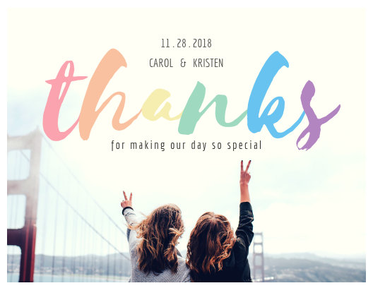 Rainbow Color Lesbian Wedding Thank You Card - Templates by Canva