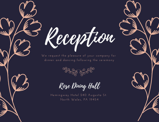 Black Floral Wedding Reception Card - Templates by Canva