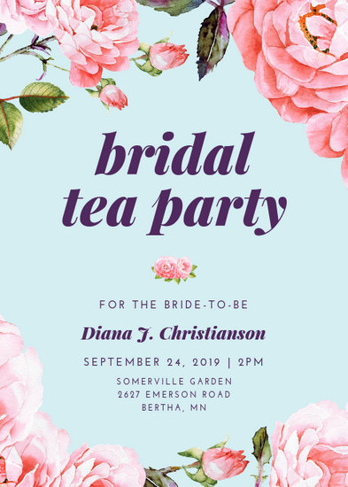 Floral Bridal Shower Tea Party Invitation - Templates by Canva