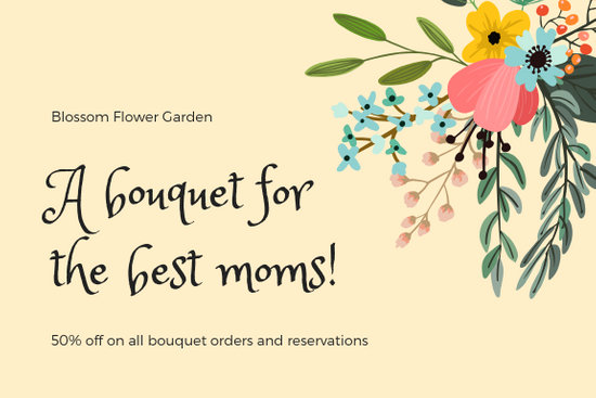 Yellow Bouquet of Flowers Mother\u0027s Day Gift Certificate - Templates