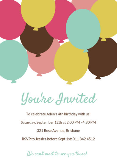 Colorful Balloons Birthday Party Invitation - Templates by Canva