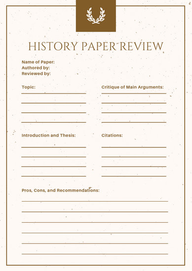 Gold and Cream Elegant History Book Review Worksheet - Templates by