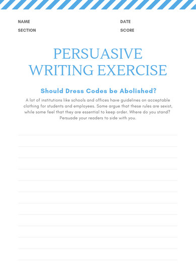 White and Blue Lines Persuasive Writing Prompt Worksheet - Templates