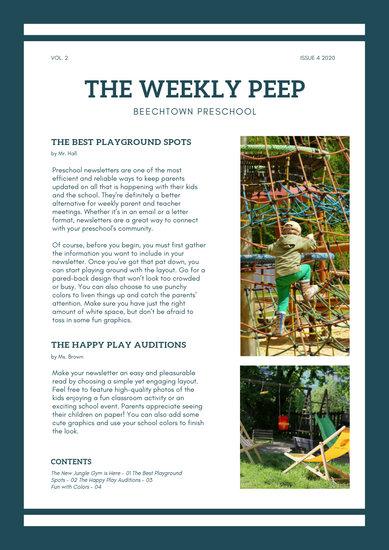 Green Photo Preschool School Newsletter - Templates by Canva