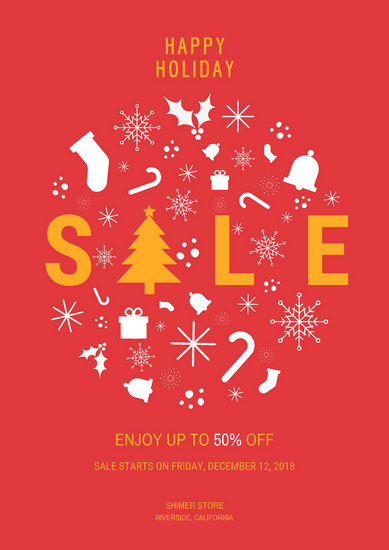 Christmas Holiday Sale Poster - Templates by Canva