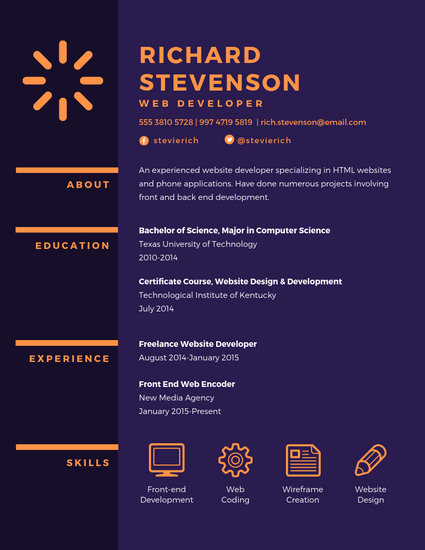 Purple Web Developer Resume - Templates by Canva - Web Developer Resume