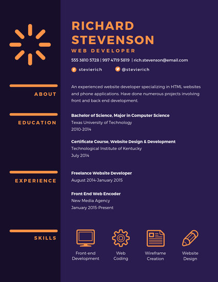 Purple Web Developer Resume - Templates by Canva