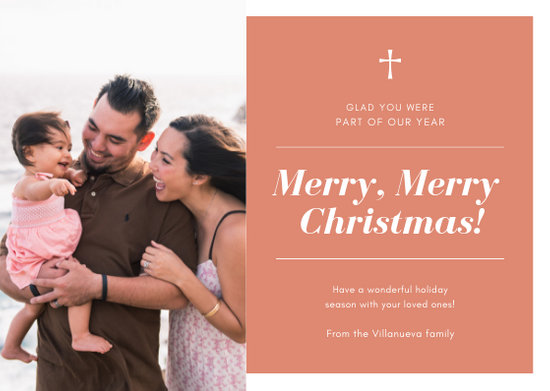 Red and White Modern Christmas Photo Card - Templates by Canva