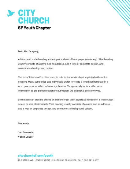 Turquoise City Church Letterhead - Templates by Canva