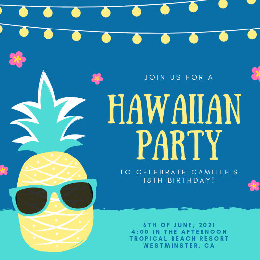 Colorful Illustrated Hawaiian Party Invitation - Templates by Canva