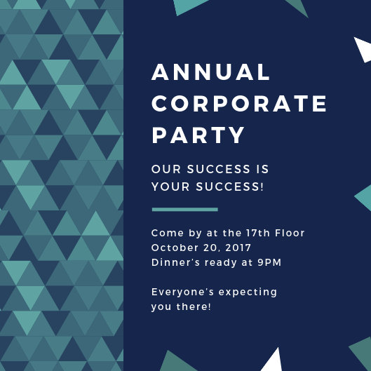 Blue Green Triangles Corporate Party Invitation - Templates by Canva