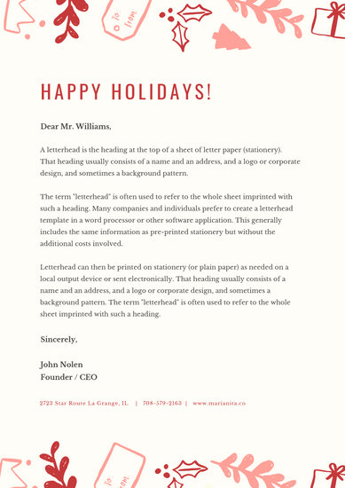 Red Illustrations Christmas Letterhead - Templates by Canva