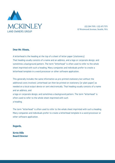 sample corporate letterhead