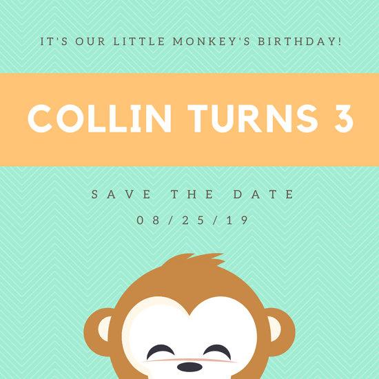 Green and Orange Monkey Birthday Save The Date Invitation