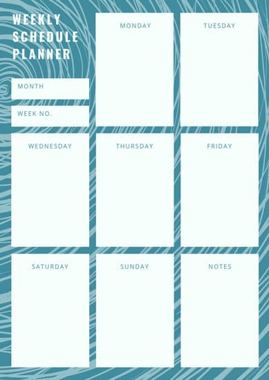 weekly daily schedule template
