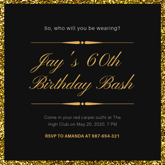 Black and Gold Glitter Background Oscar Invitation - Templates by Canva