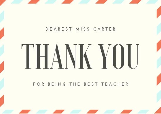 Customize 36+ Teacher Thank You Card templates online - Canva