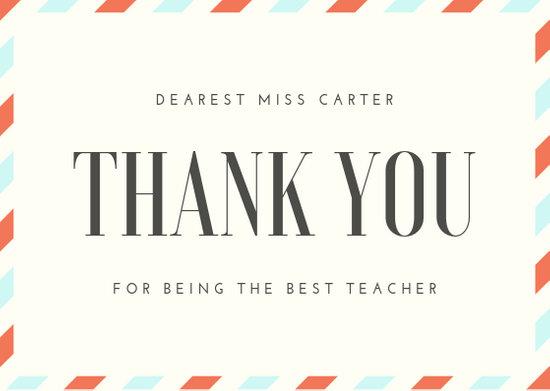 Customize 36+ Teacher Thank You Card templates online - Canva