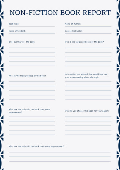 Blue Patterned Non-Fiction Book Report - Templates by Canva