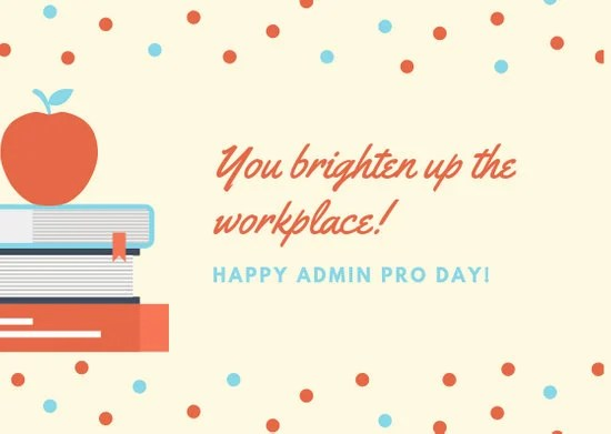 Red and Blue Books Administrative Professionals Day Card - Templates