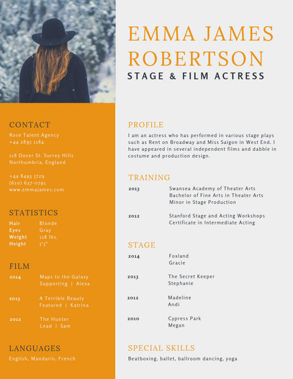 Customize 29+ Acting Resume templates online - Canva