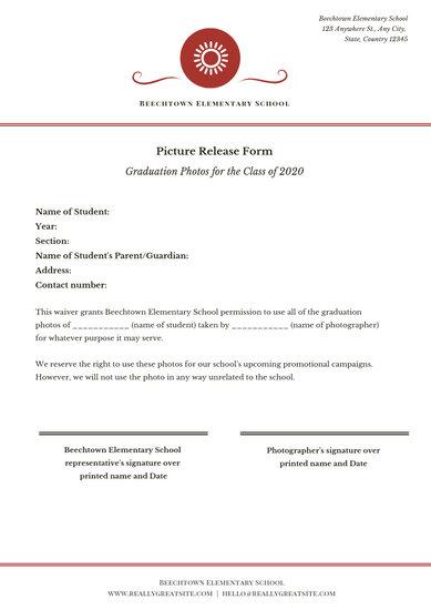 White Simple Photo Release Form Permission Slip Document - Templates