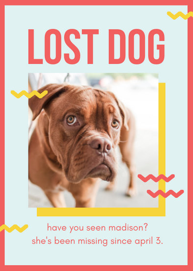 Red and Yellow Playful Lost Dog Flyer - Templates by Canva