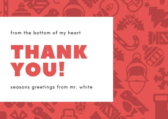 Red Pattern Christmas Thank You Card - Templates by Canva