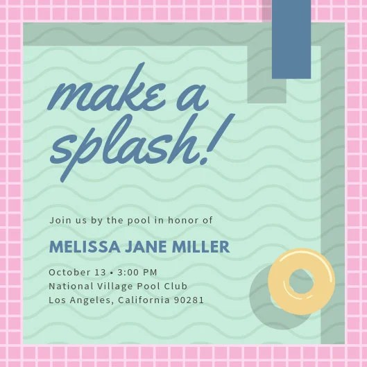 Pool Vector Background Pool Party Invitation - Templates by Canva