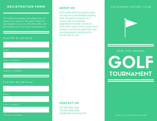 white and green golf tournament brochure - Templates by Canva