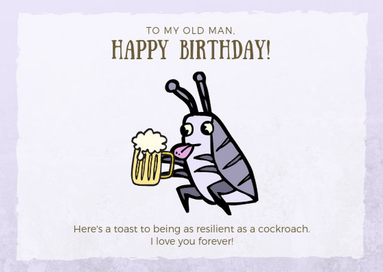 Brown Purple Cockroach Funny Birthday Card - Templates by Canva