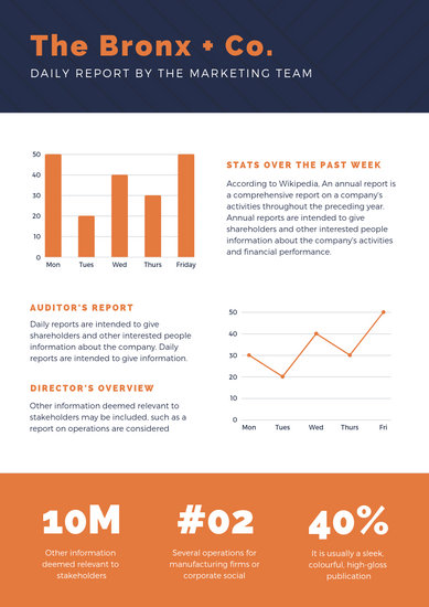 Blue Lines Pattern with Orange Graphs Daily Report - Templates by Canva