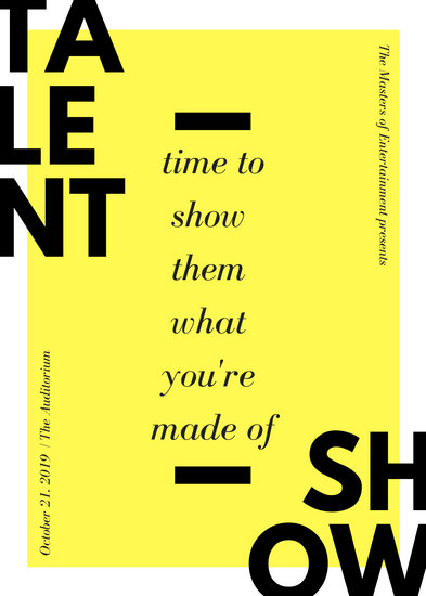 Yellow Bold Text Talent Show Flyer - Templates by Canva