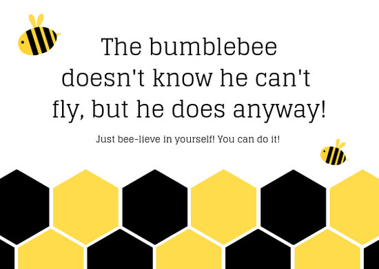 Yellow and Black Bee Inspiration Card - Templates by Canva