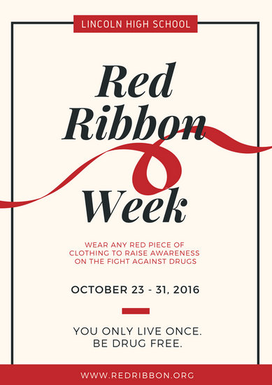 School Red Ribbon Week Campaign Poster - Templates by Canva
