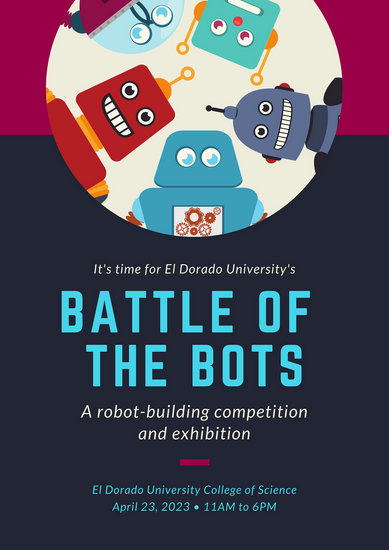 Blue Maroon Robots Science Fair Poster - Templates by Canva