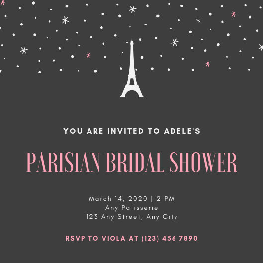 Black and Peach Stars Paris Bridal Shower Invitation - Templates by