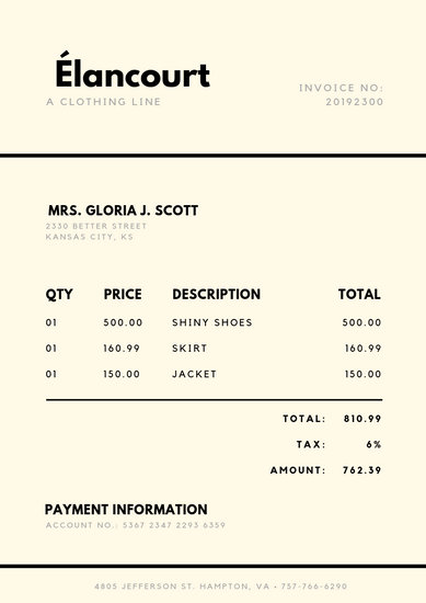 Cream and Black Simple Invoice - Templates by Canva