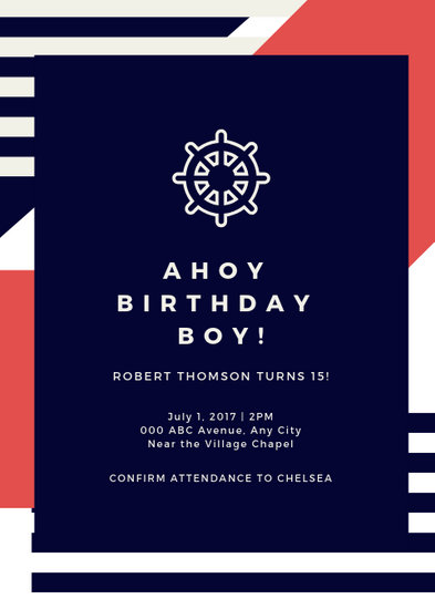 Red Blue and White Modern Stripes Nautical Invitation - Templates by