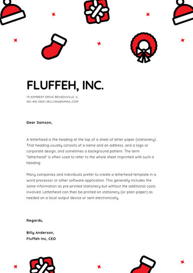 Red and Black Illustration Christmas Letterhead - Templates by Canva