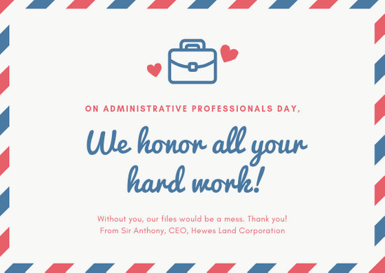 Red and Blue Mail Theme Administrative Professionals Day Card