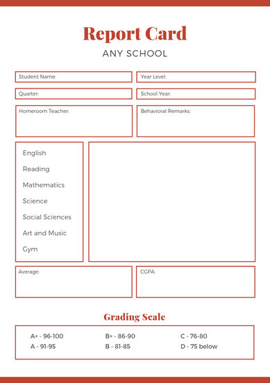 Red Middle School Report Card - Templates by Canva