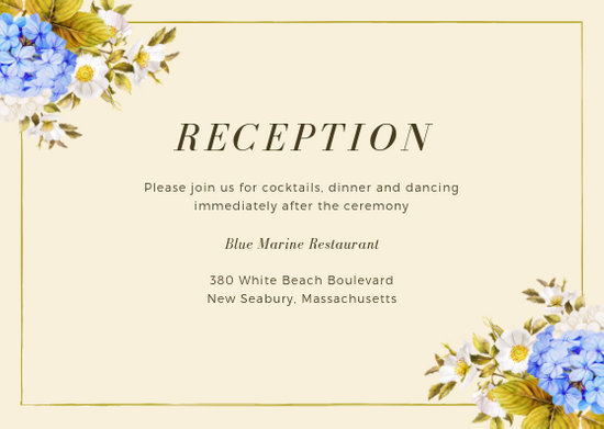 Cream and Blue Hydrangeas Wedding Reception Card - Templates by Canva