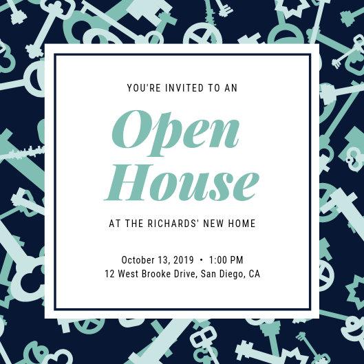 Mint Green Key Pattern Open House Invitation - Templates by Canva