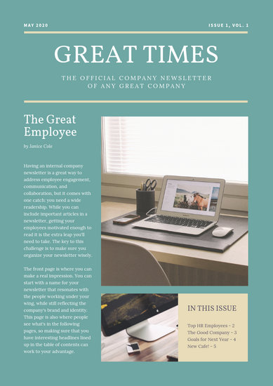 Green and Dutch White Modern Office Employee Newsletter - Templates